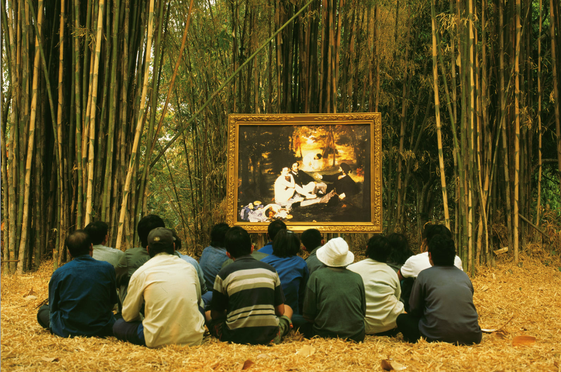 Araya Rasdjarmrearnsook Two Planets: Manet's Luncheon on the Grass and the Thai Villagers, 2008, video, Tyler Rollins Fine Art