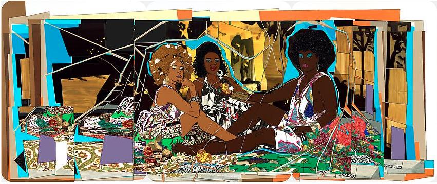 Mickalene Thomas le dejeuner sur l'herbe: Les Trois Femmes Noires, 2010, Lehmann Maupin